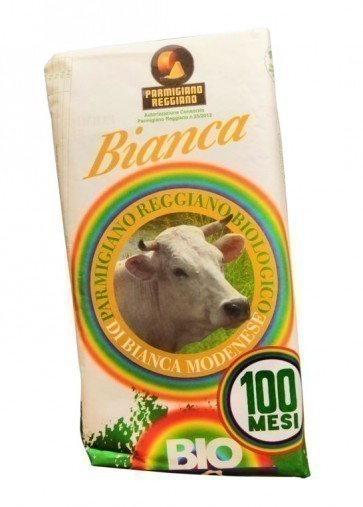 Organic Parmigiano Reggiano PDO 100 months of Bianca Modenese cow - tip 1 kg