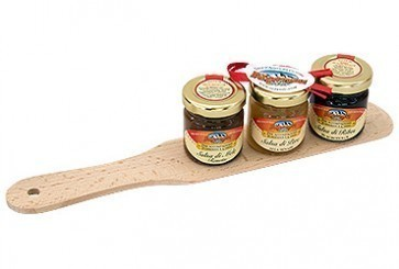 Wooden pallet for polenta with 3 jars of chutney 40 g